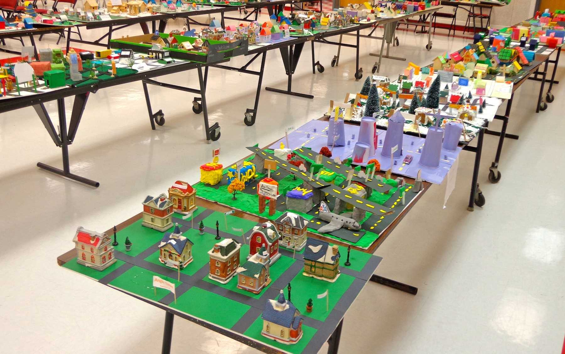 Clausen Hall was full of several geometry projects in the morning through the early afternoon.