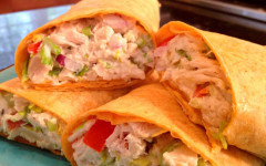 After-school snack: Tuna and vegetable wrap
