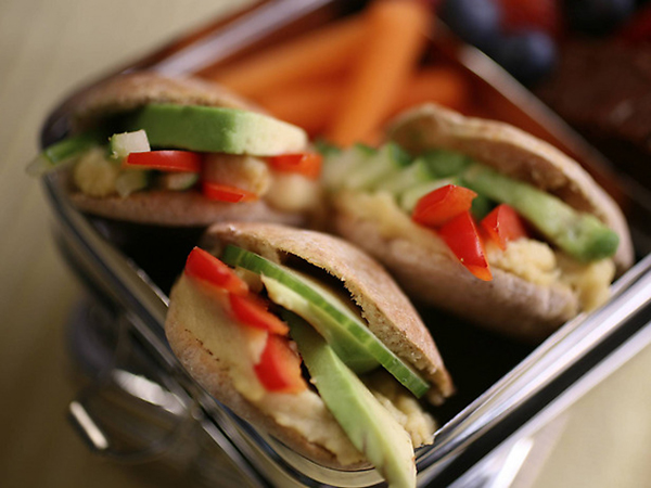 Veggie stack pita-pockets