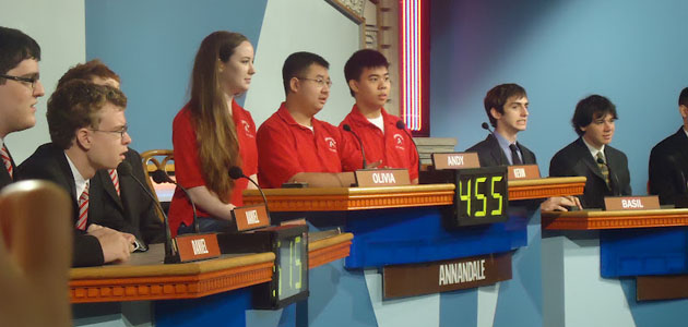 Junior Olivia Buckley, senior Andy Tran and junior Kevin Kwok prepare for the group round of the competition.