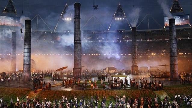 A+recreation+of+the+British+industrial+revolution+during+the+Olympic+opening+ceremony.