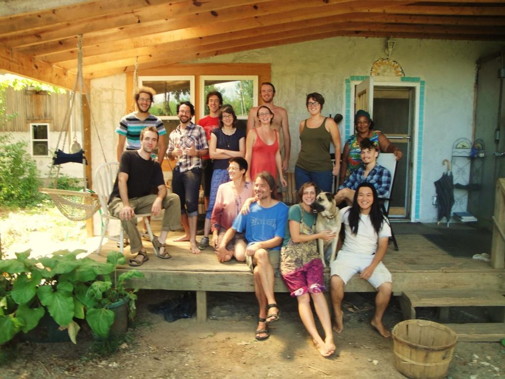 Several Acorners and I on the porch of Heartwood, the main building.