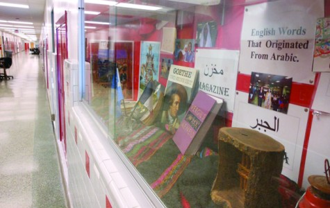 The foreign language hall display illustrates how cultures are involved in our education and curricula.
