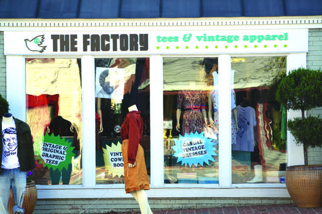 The Factory Tees & Vintage Apparel in the heart of Old Town Fairfax offers vintage cowgirl boots and unique I-Phone cases. It also offers a way to design your own t-shirts