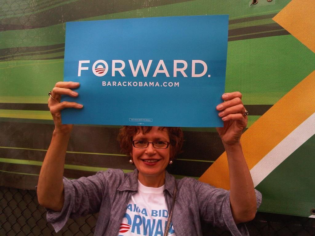 AHS parent Ingrid Levey attended President Obama's rally at GMU.