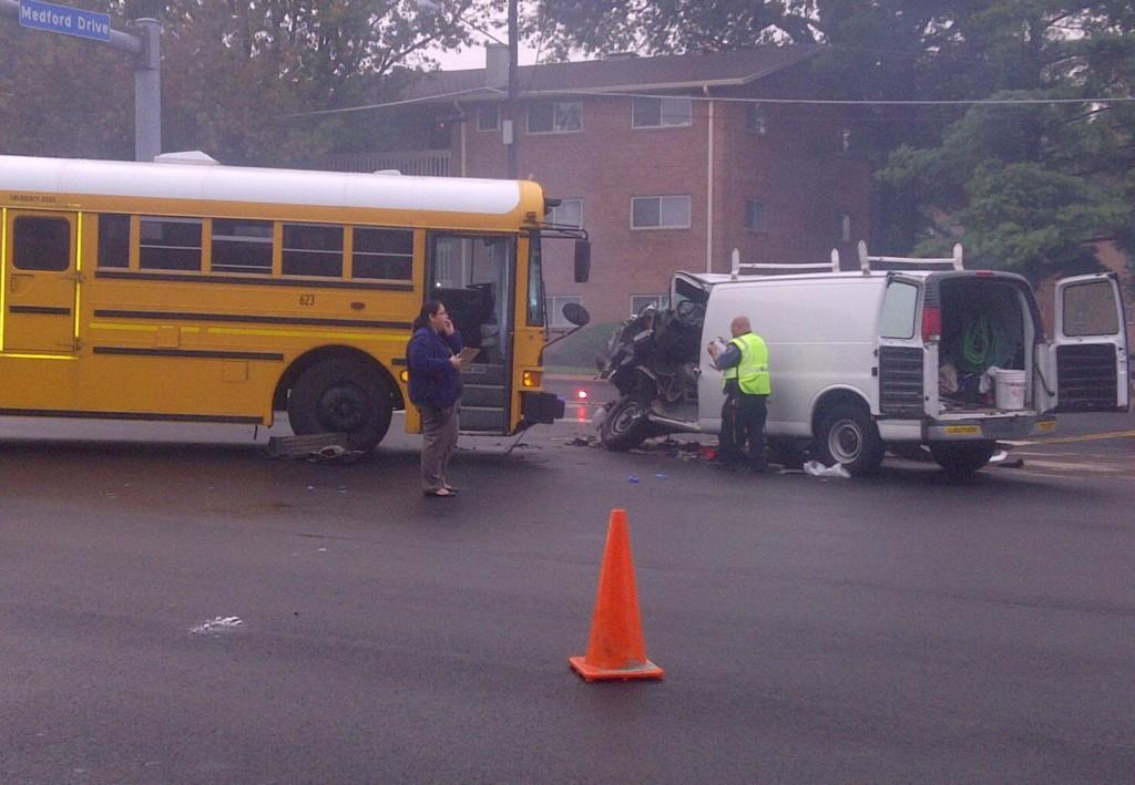 An AHS school bus struck a van on its way to school this morning.