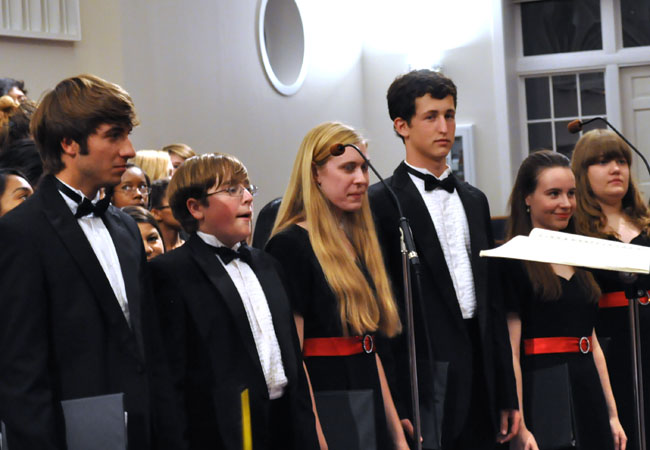 Juniors Michael Sgrecci and Mark Slough and seniors Patricia Webb, Stephen Oakes, Katie Mock and Laura Hackfield performed solos in different songs when the AHS choral groups and DBG choir combined to sing together.