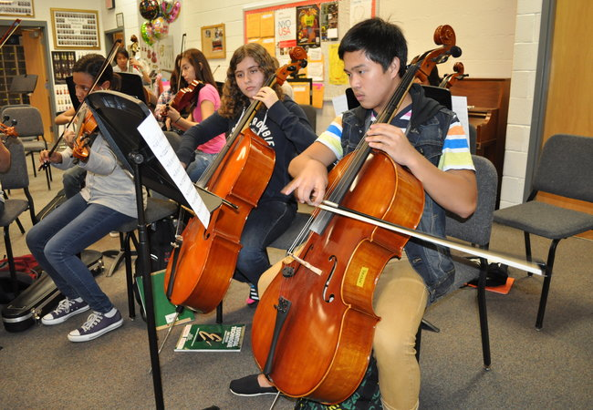 Freshman Leif Jomuad (right) works hard while practicing his music during Ammerman's W2 class.