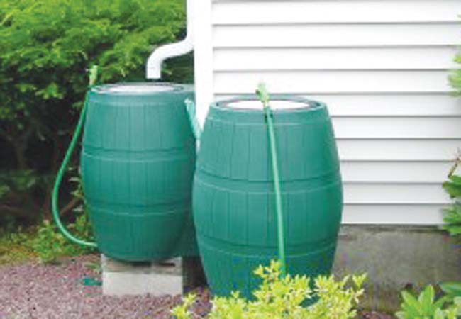 Examples of the rain barrels the Green Atoms will attempt to create.