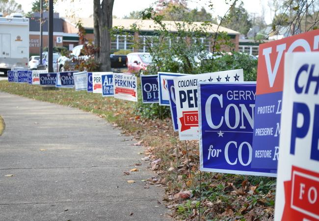 Election signs are lined up in the grass along the pathway into the center to vote.