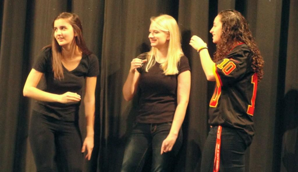 Seniors Skye Lindberg and Maddy Reinert perform a party scene from