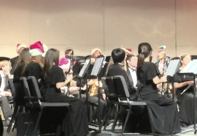 During Sleigh Ride, the Symphonic Band wore hats to get in the Christmas mood