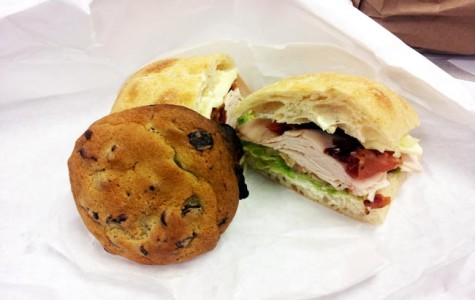 One of the cold sandwiches offered is the ham, turkey and cheese with mayonnaise, pickles and onions. On the side, there was a large homemade cookie to enjoy as dessert.