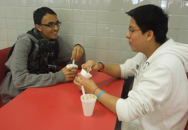 Students hang out with their colleagues and enjoy their ice cream