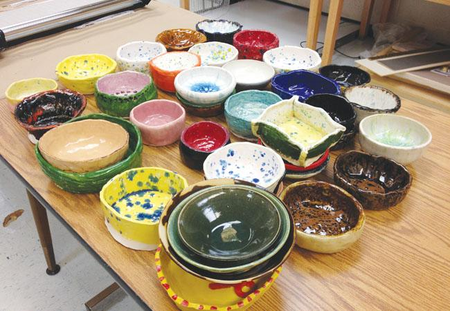 Art teacher Meredith Stevens and her students have already created a number of bowls for the Empty Bowls projects.
