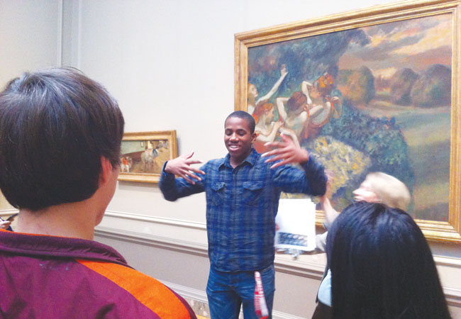 "The gallery tour guide asked junior Lewis Folli to imitate the girls dancing in Edgar Degas' 1899 ""Four Dancers."""