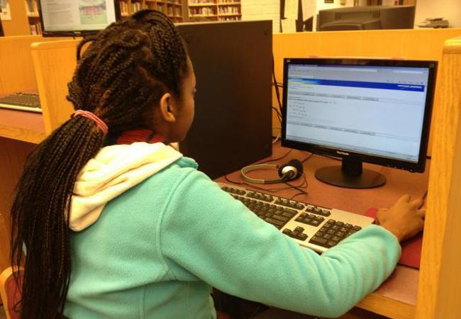 Junior Maylat Eyob takes practice SOL tests to prepare herself for the Writing SOL.
