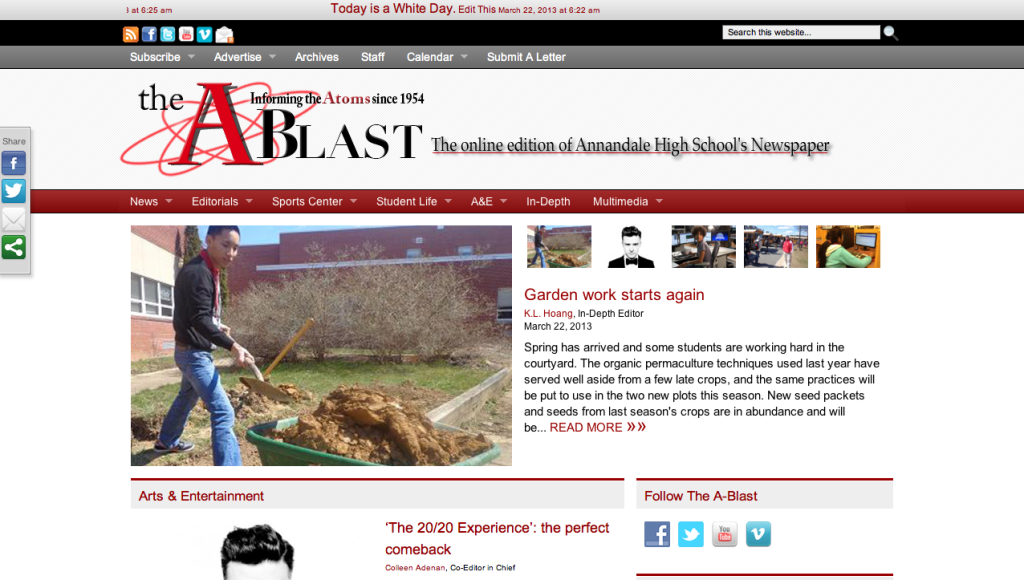 TheA-Blast.org has been redesigned several times over the past few years.
