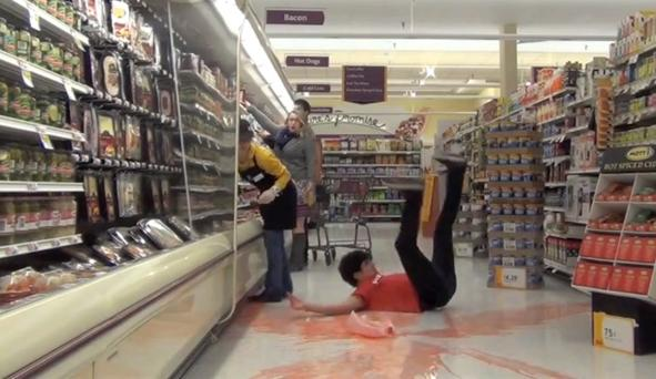 Gallon Smashing has become a popular prank to pull in supermarkets.