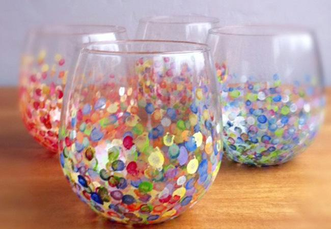 DIY hand dotted tumblers