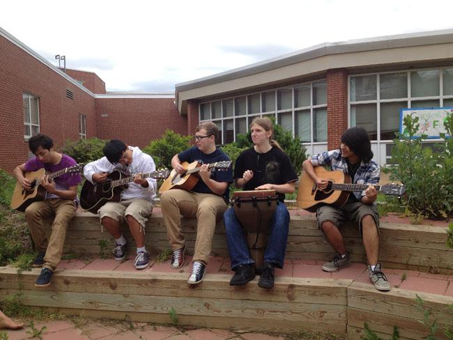 The festival featured guitar, drum, and harmonica playing in the courtyard amphitheater.