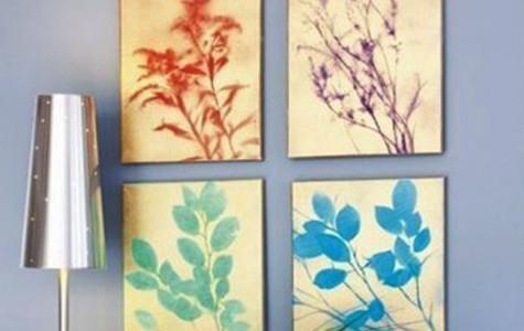 Spray paint silhouette botanical art DIY
