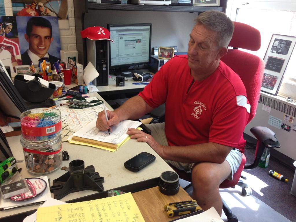 Dick Adams works on paperwork during his last few weeks of being the Assistant Director of Student Activities.