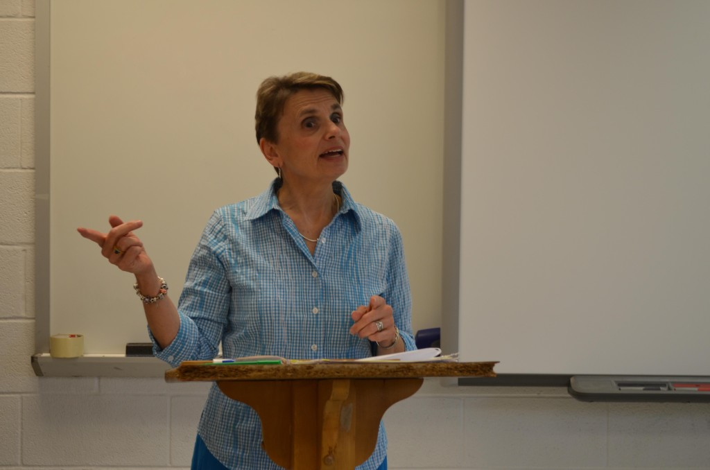Mary Richardson lectures during one of her last IB Topics classes of the year.