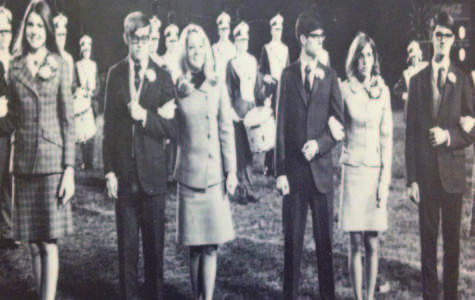 The senior homecoming court of 1968 is presented before the kickoff at the homecoming football game. The winner was later announced during half-time. To this day that tradition has remained the same.