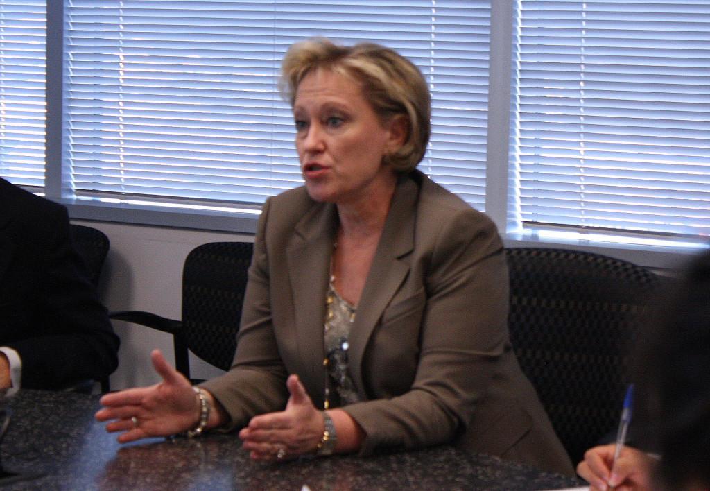 Superintendent Dr. Karen Garza talks to students