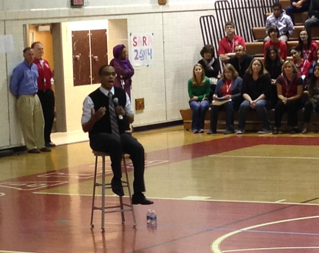 Burnham spoke to AHS students during a two part assembly.