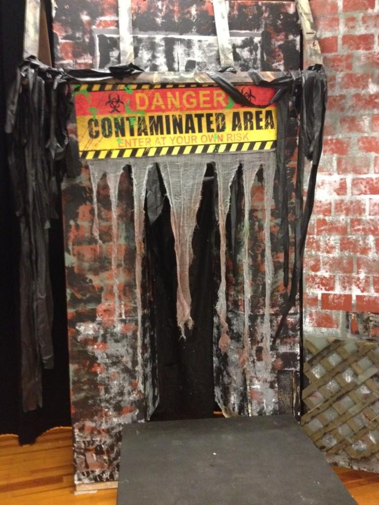 Poe Middle School's stage has been transformed to a zombie-run city for their upcoming play.
