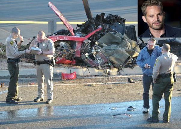 The car crash site of Paul Walker on Nov. 30.