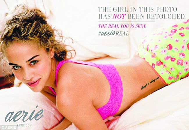 With its new campaign Aerie has now stopped airbrushing their models, which includes tattoos, birthmarks, lines and dimples.