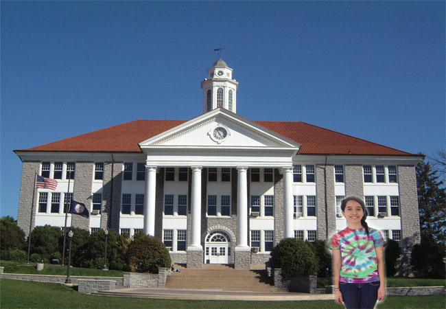 Alderete is pictured above in front of James Madison University. JMU is one of the state schools that will be affected by the state action.