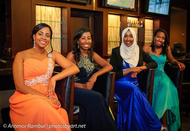 Seniors Melissa Stamp, Omnia Saed, Kothar Said and Jasmine Pringle pose for a photograph while at the dance.