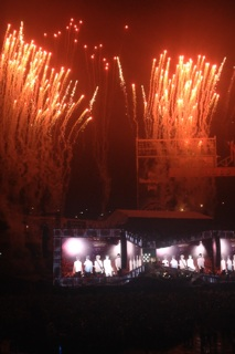 Fireworks set off as the One Direction concert came to an end.