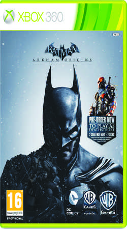 The cover of the new Batman video game, Batman: Arkham Origins. It is the third game in the series, and the newest game, Batman: Arkham Knight, releases in 2015.