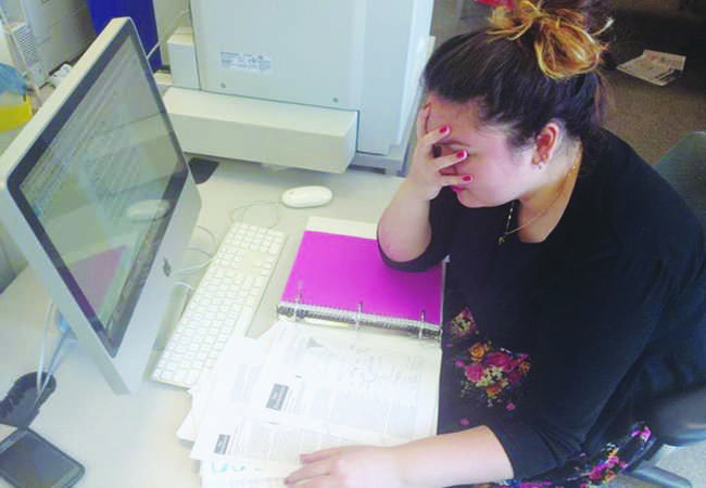 Senior Jenna Velasquez is stressed out about compiling all the paperwork for her applications.