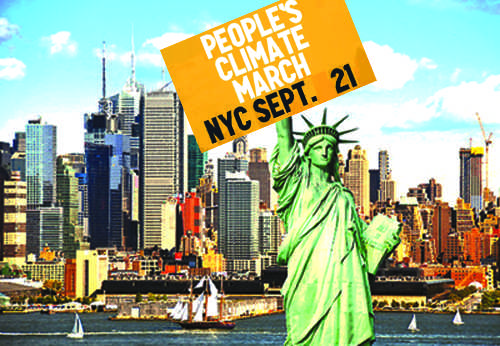 The People's Climate March will start at 11:30 in NYC on Sunday Sep 21.