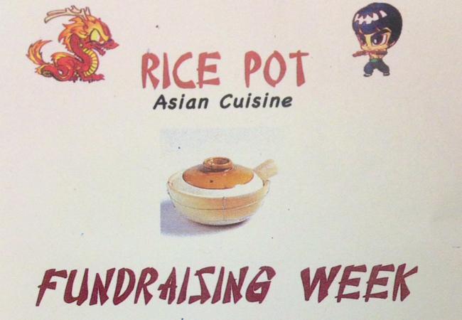 Rice pot fundraiser flyer.