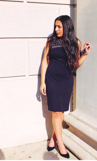 Express Black mid-length detailed dress  $50
