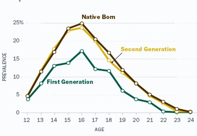 Above: the national crime rate rises among second generation immigrants as they assimilate into the culture of their native born peers.