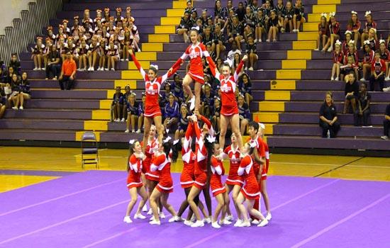 Girls varsity cheerleading at the semi-finals.