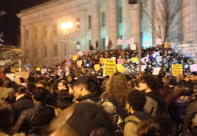 Protesters gather outside of the national archives during a recent protest.