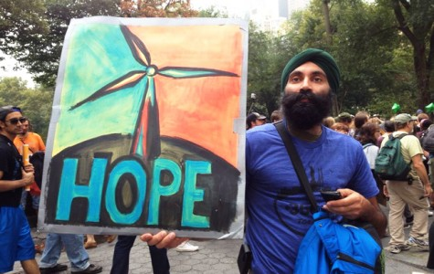 This protester marched in the People's Climate March in NYC this September.