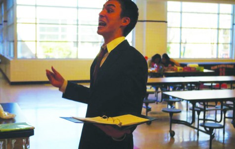Hendrickson practices one of his speeches before competition.