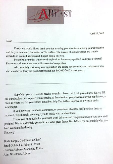 The letter given to all of the staff members
