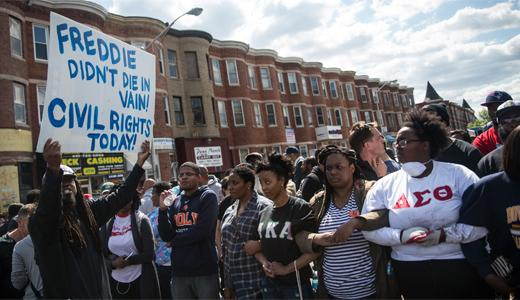 Baltimore residents gather in support of Freddie Gray.