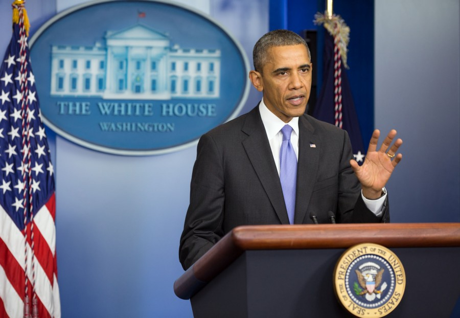 Obama standing at the podium where he delivered his Oct. 1 speech.